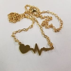 Affordable but not cheap gift Jewelry - Electrocardiogram Heart Gold Necklace